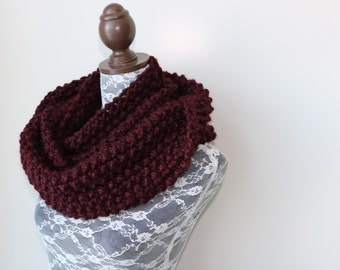 Knitted Knit Large Cowl, Infinity Scarf, Circle Scarf. Handmade in Burgundy Chunky Wool Yarn