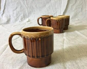Vintage Brown Drip Ribbed Coffee Mugs from Japan, Set of 4