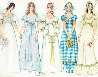 Vintage Simplicity 9825 Ladies Wedding Dress Gowns Sewing Pattern Brides Maids Victoriana, Regency, Emma, Costume, Maxi Empire Princess RARE