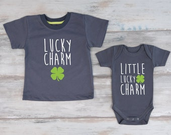 St. Patrick's Day Shirts, Lucky Charm T-Shirt & Little Lucky Charm Baby Bodysuit Set, Big Brother Little Brother / Little Sister Outfits