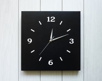 Unique modern large Wall Clock.Leather clock.Wall decor.Home decor.Black.