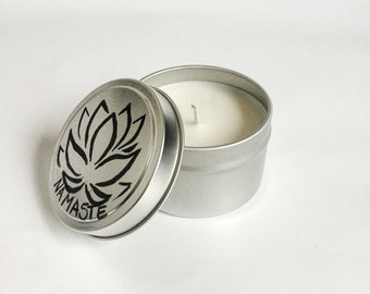 Green Tea and Lemongrass Candle/ 6oz tin/Lotus flower/ Namaste/ meditiation/ refillable/ Natural Soy Wax/ relaxation candle/ Yogi Candle