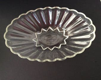 Vintage Large Oval Clear Glass Footed Serving  Bowl Scalloped Edges