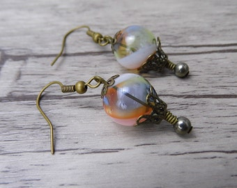 BOHO Bead Earrings Bead Dangle Earrings Hot Air Balloon Earrings Drop Earrings Vintage Earrings Statement Earrings Boho Earrings ED-004
