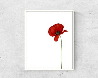 Simple Poppy Art Print | Wall Art, Home Decor, Floral (INSTANT DOWNLOAD)