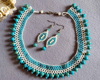 Ethnic Collar Necklace, Mint Green Necklace Set, Seed Bead Necklace, Seed Bead Choker, Beaded Necklace, Necklace with Matching Earrings,