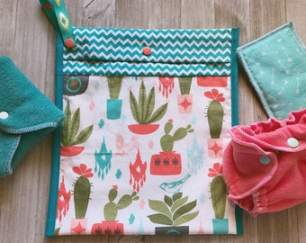 Cactus and Succulent Coral and Turquoise Wetbag