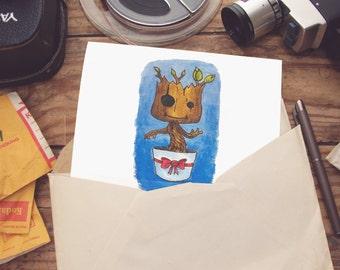 Merry Groot  - Christmas card - Groot - guardians of the galaxy - marvel - scifi - superhero - hero