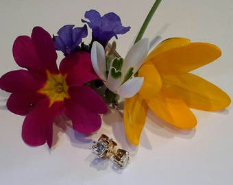 Contemporary 18ct gold set Square Step Cut Asscher diamond Stud Earings. 0.60tcw