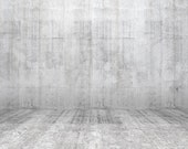 White Concrete Wall Backdrop - cement floor, room - Printed Fabric Photography Background G1479