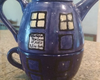 Hand painted Doctor Who TARDIS Teapot and Cup