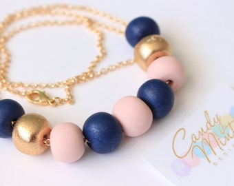 Polymer Clay Necklace on Gold Non Tarnish Chain - Handmade Handcrafted Polymer Clay Jewellery