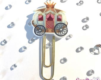 Princess carriage clip for planner, organiser, scrapbook or paper - handmade fairytale decorative carriage clip with crown