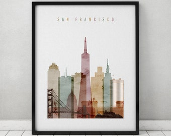 San Francisco watercolor print, poster, Wall art, San Francisco skyline,  cities poster, typography art, digital watercolor, ART PRINTS VICKY