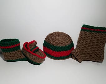 Gucci Inspired baby short, beanie and booties set