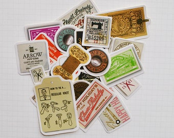 Vintage Clothing Labels & Tags Flake Stickers (22 pcs) // N31 // Die Cut Stickers // Planners //  Laptop Stickers // Scrapbooking Essentials