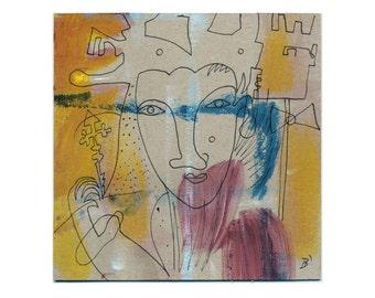 Painting & drawing 15 x 15 cm (5, 9 x 5, 9 inch) Acrylic u.Tusche