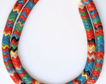 Vintage 9mm Snake Beads from the African Trade - Mixed Color Glass Snake Beads - 26 Inch Strand