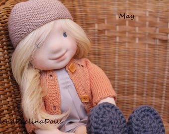"""Doll waldorf style 43 cm/17"""" bambola puppen pouppe"""