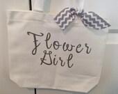 White/Silver Sparkle Flower Girl Bag with Chevron Ribbon