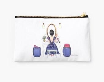 """Clutch, Makeup bag, Makeup case, Pencil case, Purse, bag, pouch. Illustration """"dress table"""""""