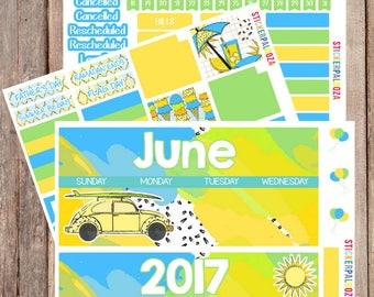 June Monthly View, June Month Stickers, June Stickers for Erin Condren Life Planner