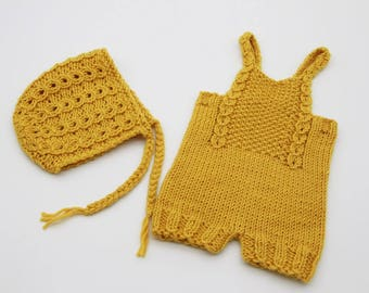 Newborn knitted set | Newborn knitted overalls | Newborn photo props | Yellow mustard photo props | Knit romper | Knitted bonnet and pants