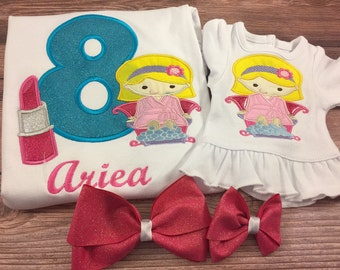 Matching Girl And Doll Shirts;Made To Match;Girls Birthday Shirt;Dollie And Me;Custom Doll Clothes;Spa Girl Birthday;18 Inch Doll Clothes