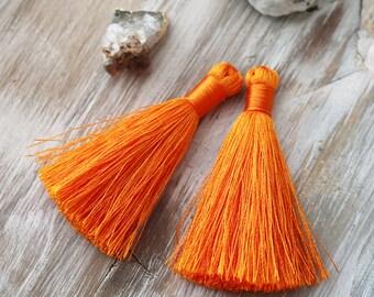 Set of 2, Orange Tassel, 2 inches, 2 inch Tassel, Orange Tassel, Small Tassel, Small Orange Tassel, Orange Silk, Silk Tassel,  B08