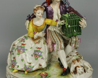 "Antique Dresden Volkstedt figurine ""Couple with Cage"""