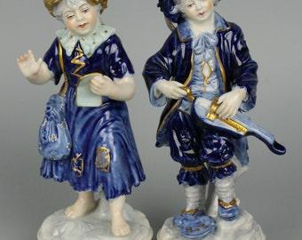 Dresden Volkstedt couple of figurines Boy & Girl
