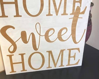 Home sweet home 12x12 hand painted wood sign