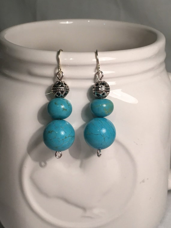 Repurposed genuine Turquoise and silver dangle earrings-genuine turquoise stone beads