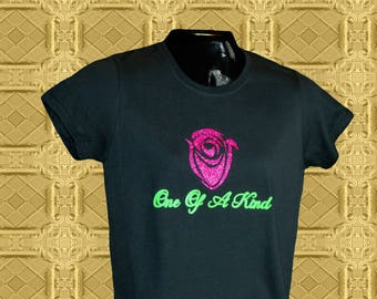 One Of A Kind - Women's black 100% cotton t-shirt with red printed rose and green letters