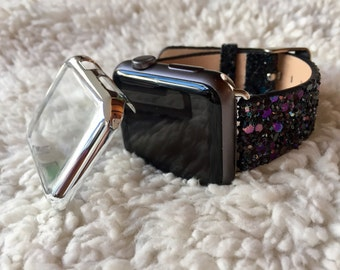 BLING Apple Watch Band 38mm Women iWatch Bands Cover 38 42 Black Glitter (Also Red, Silver & Gold) Band + Adapters  TimeKitsUSA 38 42