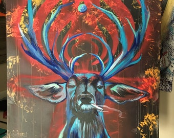 30x40in Abstract Bass deer Bassnectar inspired gallery canvas painting