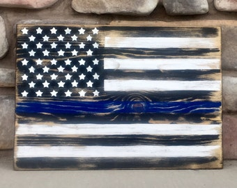 Support our Law Enforcement Officers with a Wooden Thin Blue Line Flag