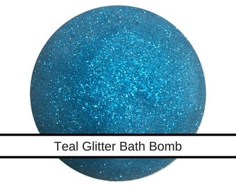 Large Teal Glitter Bath Bomb, Pink Grapefruit 4.5oz  Ultra Lush, Handmade Bath Fizzy for Dry Skin, Coconut Oil, Glitter Bath Bomb