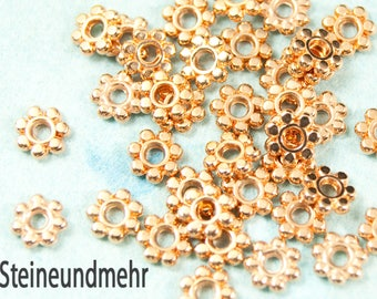 10x Spacer Floral 5.5mm Rose Gold plated # 3413