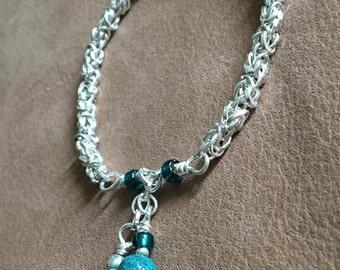 Handmade Women's Genuine Turquoise Gemstone Chainmaille Bracelet Genuine Turquoise bracelet Byzantine bracelet Chainmaille bracelet jewelry