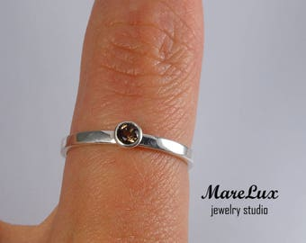 Earth Mined Smoky Quartz Silver Band, 3 mm Round Cut Smokey Quartz 2 mm Band Ring, Sterling Smoky Quartz Flat Band Engagement Ring, Band