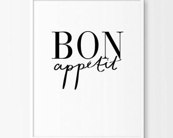 Bon appetit sign, Dining room decor, Typographic Print, Kitchen art, Bon Appetite, Wall Art, Home Decor, Black and White
