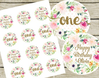 """Custom Cupcake Toppers Printable. 2"""" Round. Instant Download. First Birthday Cupcake Toppers. Pink and Gold Cupcake Toppers."""