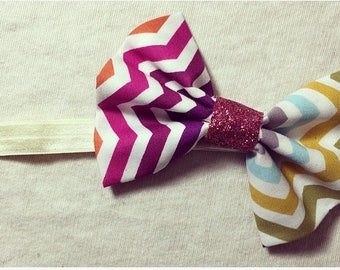 Multicolored Bow W/ Cream Elastic Headband .