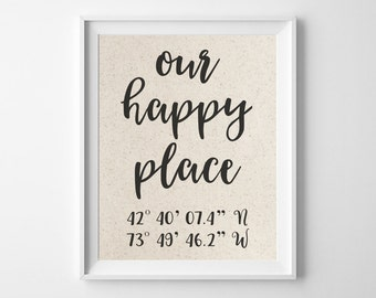 Our Happy Place | 100% Cotton Anniversary Gift | Latitude Longitude Cotton Print | GPS Coordinates | Personalized Boyfriend Girlfriend Gift