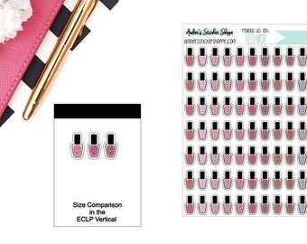 Printed Glitter Nail Polish Planner Stickers