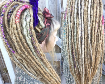 Synthetic Crocheted Dreadlock Extensions | Single and Double Ended | Medium Blonde