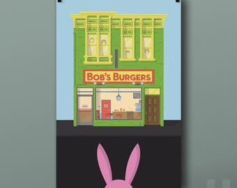 Bob's Burgers Building Print - Belcher, Family, Restaurant, Bob, Lina, Tina, Gene, Louise, Illustration, Animated Sitcom, TV, Poster