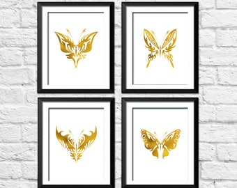 Butterfly Printable Art Set of 4 Prints Gold White Fantasy Insect Fauna Summer Print Nursery Wall Decor Digital Art / Instant Download