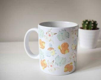 Pokemon mug, charmander mug, bulbasaur  mug, squirtle mug, cute pokemon mug, ditto pokemon mug, watercolor pokemon mug, first generation mug